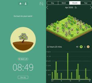 printscreen mobilní obrazovky s náhledem designu aplikace forest