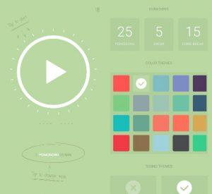 printscreen mobilní obrazovky s náhledem designu aplikace pomodoro timer