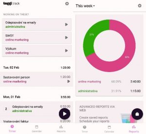 printscreen mobilní obrazovky s náhledem designu aplikace toggl
